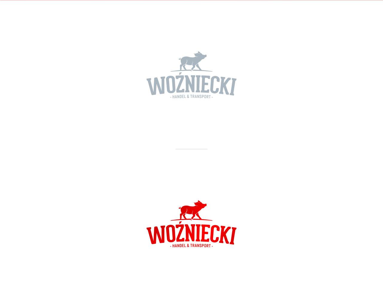 Projekt logo firmy Woźniecki w różnych wersjach kolorystycznych
