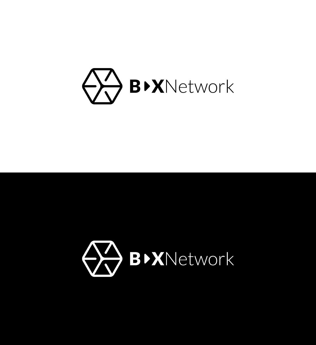 Logo Bax Network w wersji monochromatycznej i achromatycznej