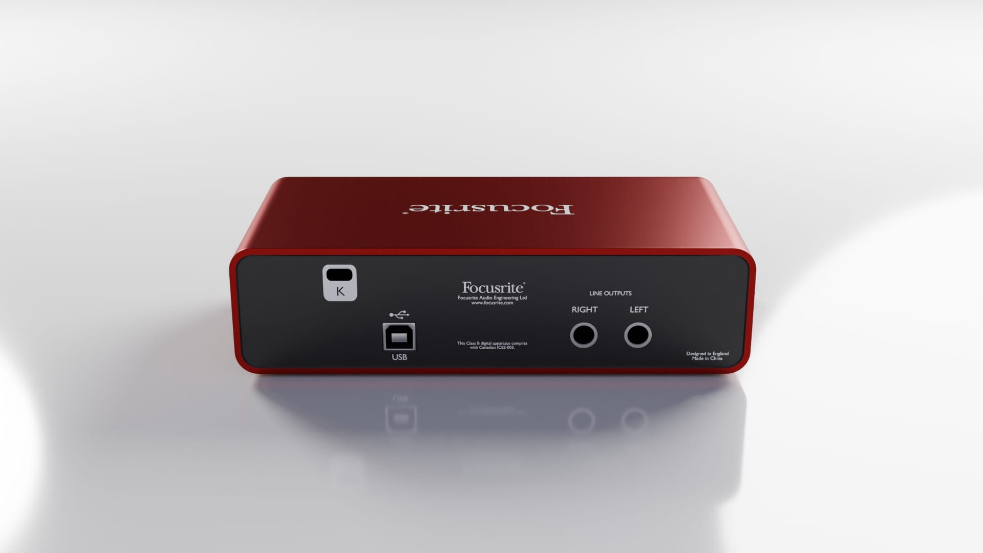 Model 3d Focusrite Scarlett 2i2 zaprojektowany w Blender 2.8 - Back