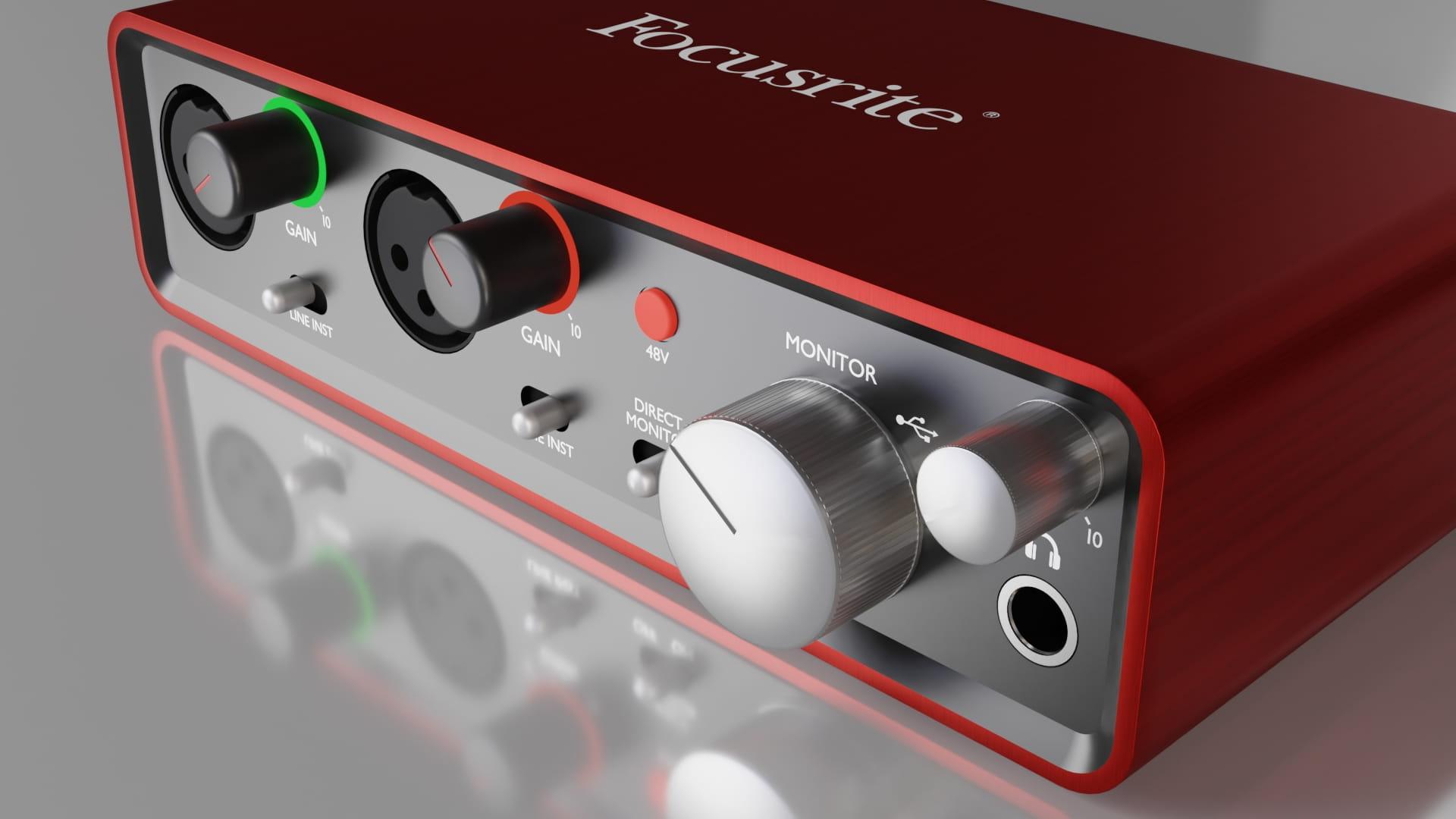 Model 3d Focusrite Scarlett 2i2 zaprojektowany w Blender 2.8 - Widok izometryczny