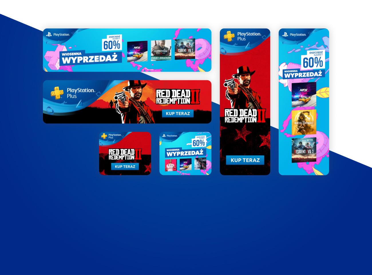 Projekty Bannerów reklamowych dla PlayStation z gier Red Dead Redemption II, Wiedźmin 3, NFS Heat