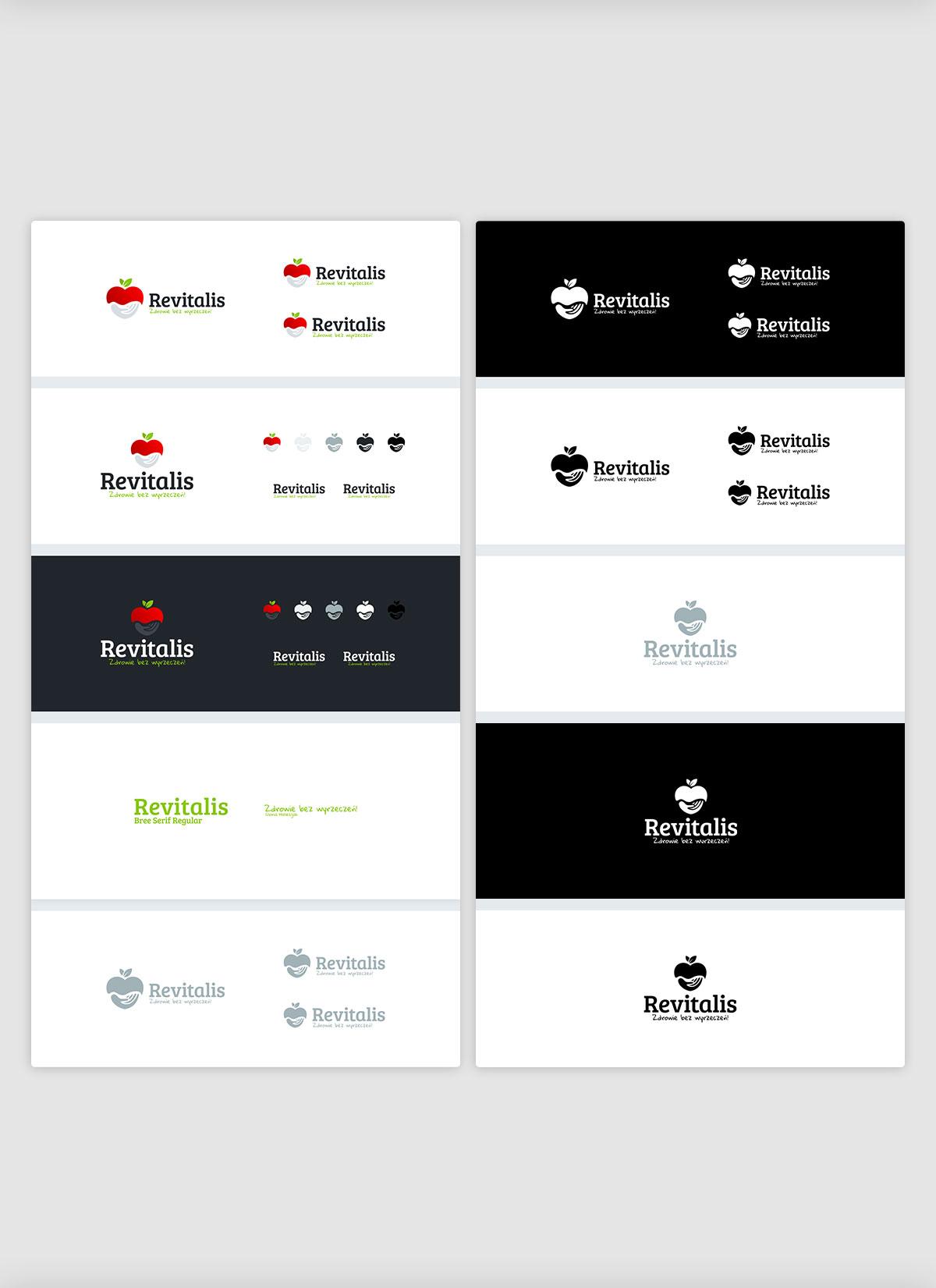 Projekt logo firmowego Revitalis Zdrowie bez wyrzeczeń księga znaku