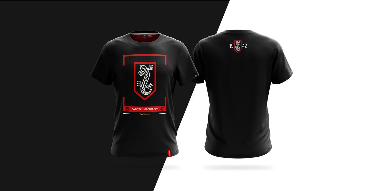 Projekt koszulki wykonany dla ProPatriae z motywem Związku Jasczurczego