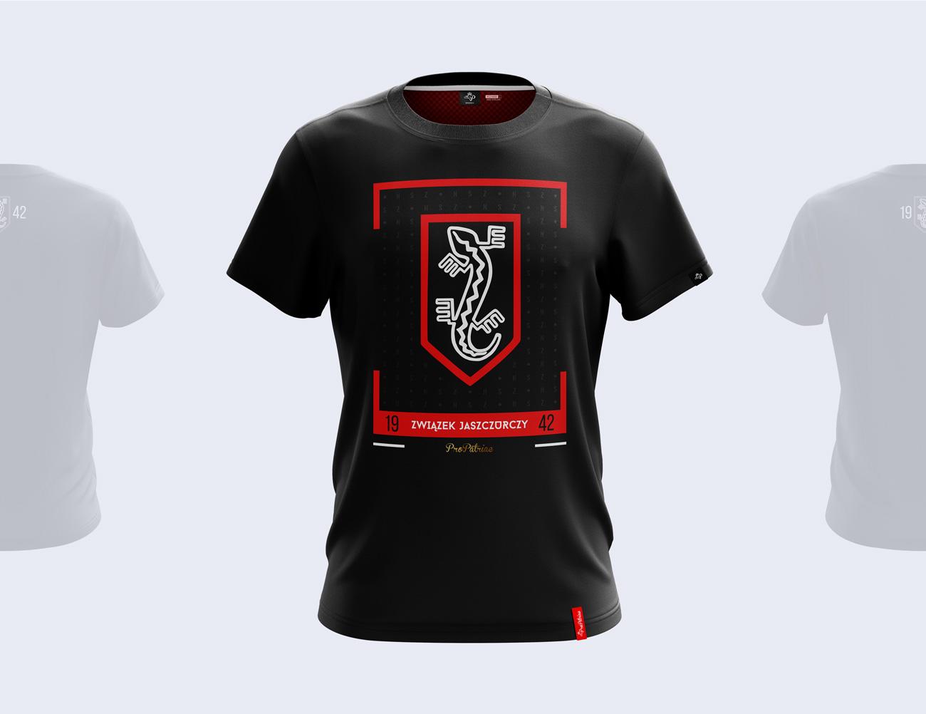 Patriotyczny projekt nadruku na koszulkę wykonany dla marki odzieżowej - przód