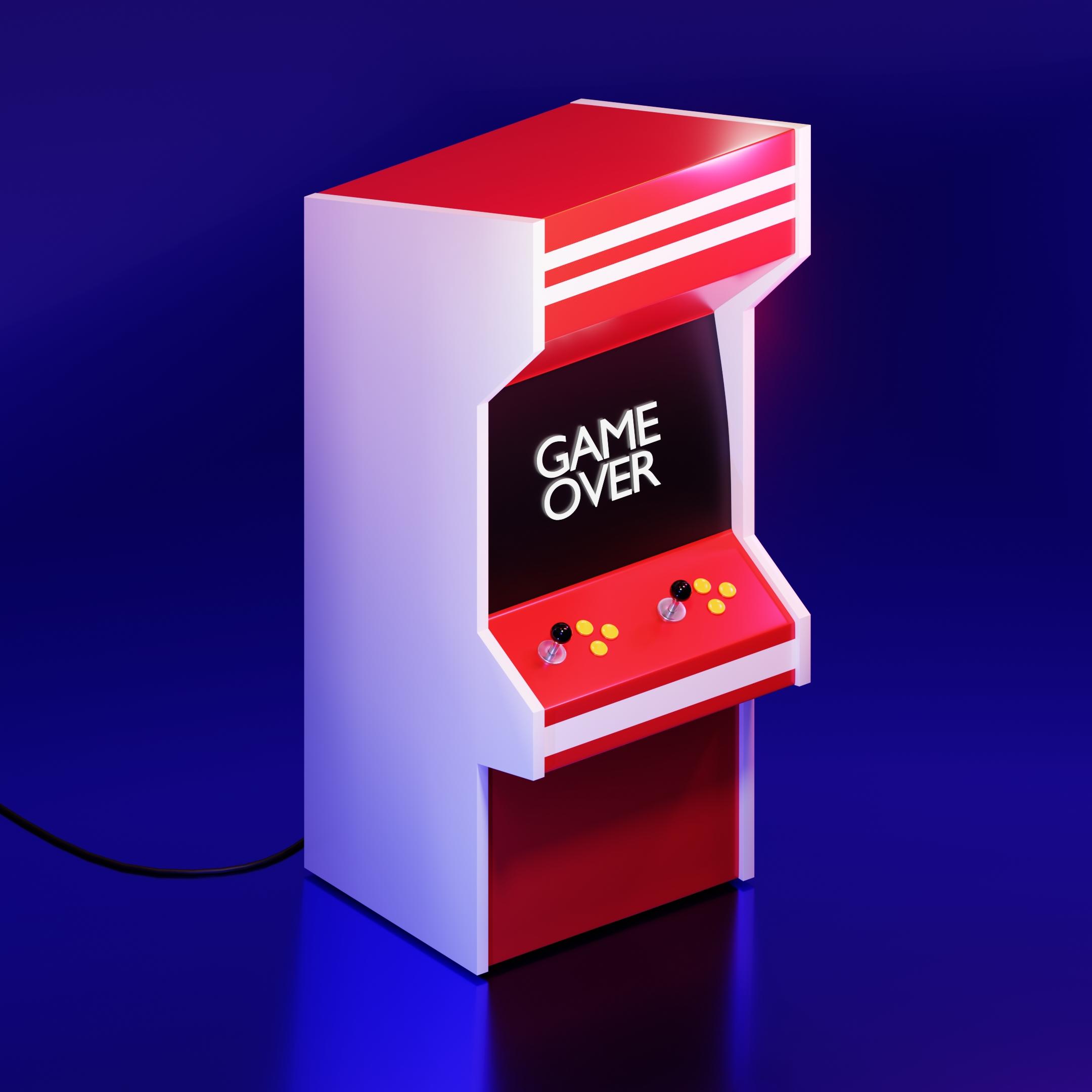 Projekt modelu 3D (Arcade Game) automatu do gier Blender w kolorze