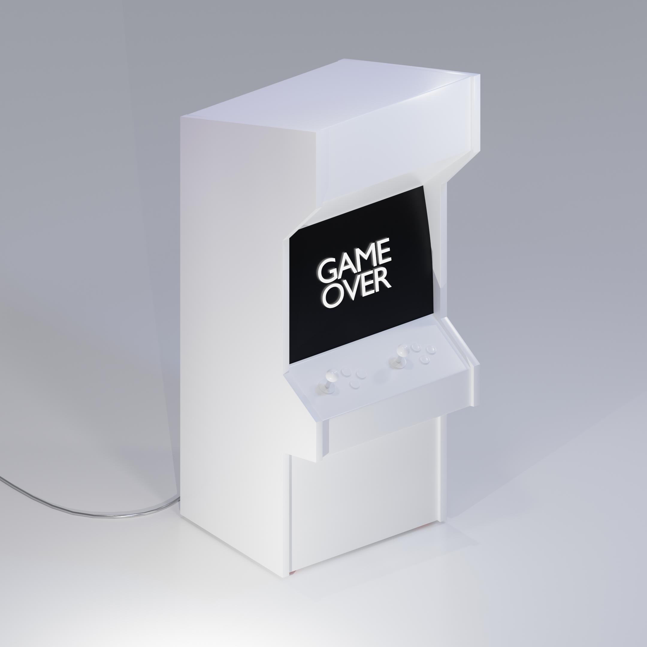Projekt modelu 3D (Arcade Game) automatu do gier Blender w czerni i bieli