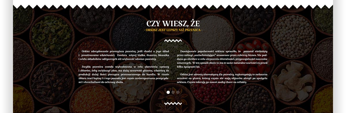 Czy wiesz, że orkisz jest lepszy niż pszenica przyprawy - Projekt graficzny strony internetowej Świat Orkiszu