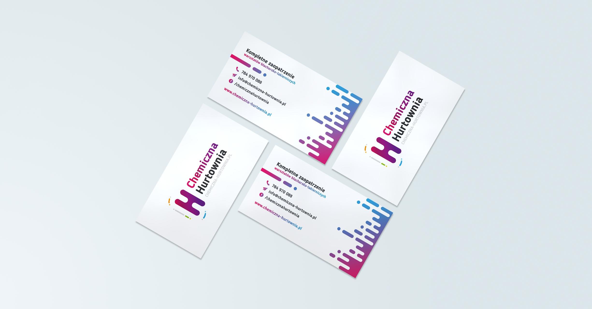 Projekt graficzny wizytówki wykonany dla sklepu internetowego Chemiczna Hurtownia