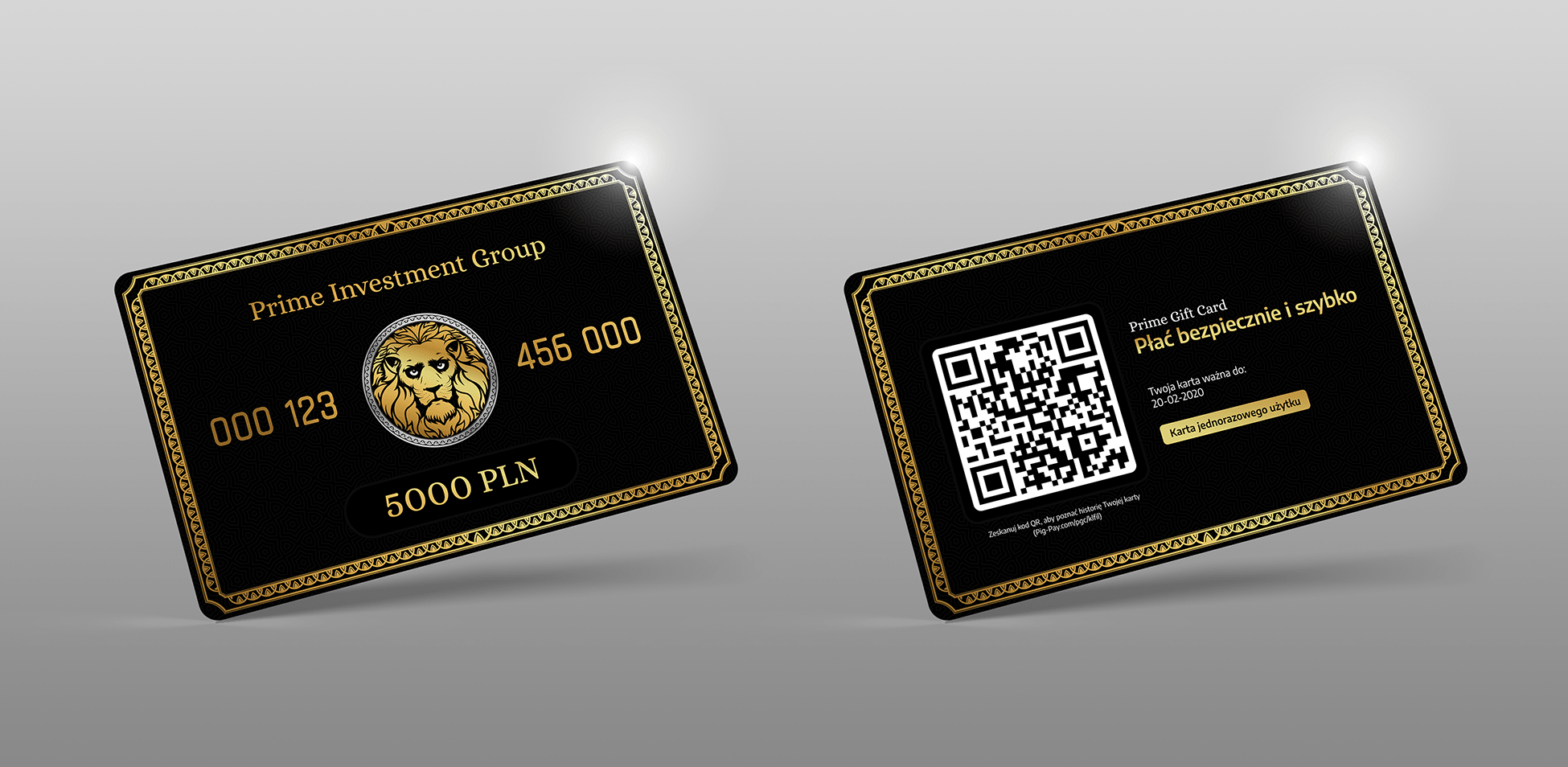 Projekt karty podarunkowej Prime Investment Group