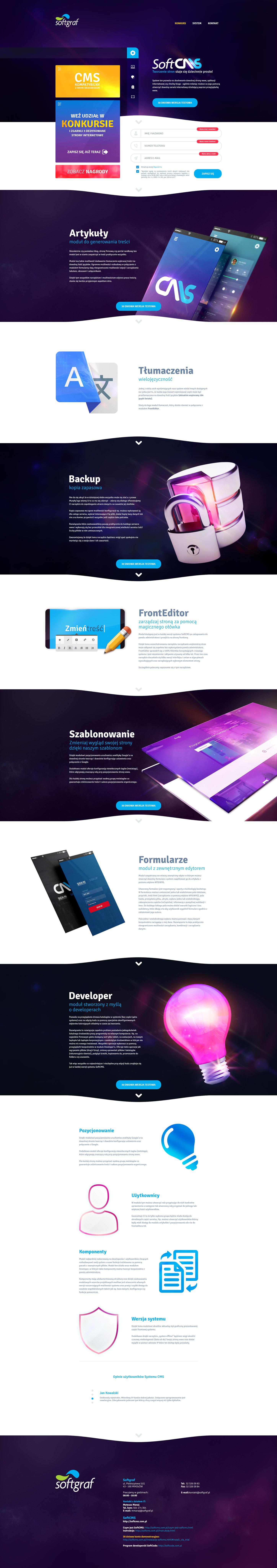Projekt strony internetowej SoftCMS - zaawansowany system CMS, kreator stron internetowych, aplikacje internetowe blog