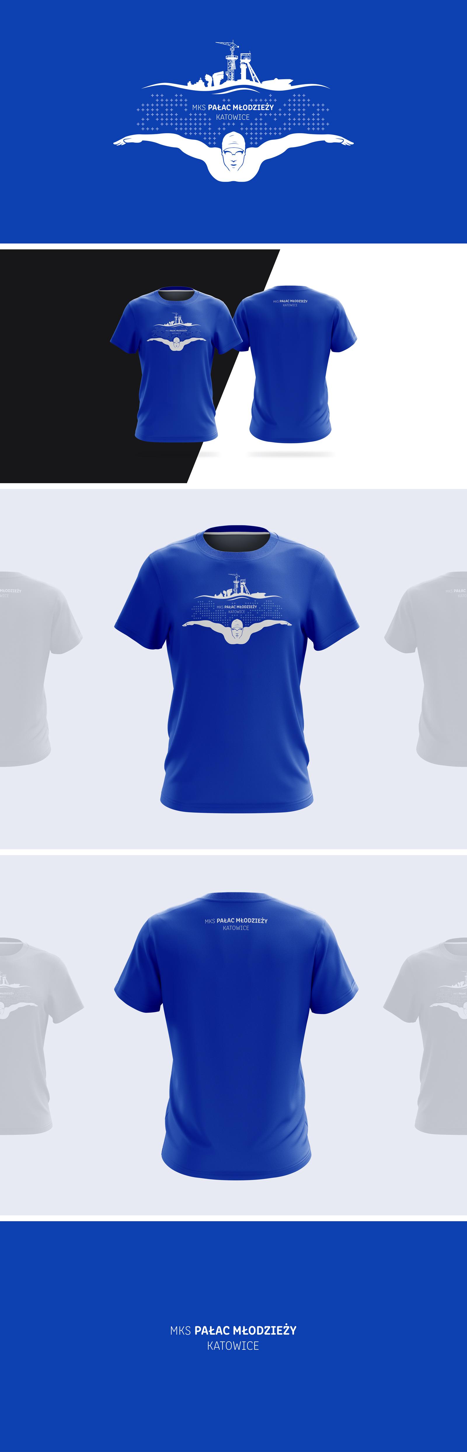 Projekt nadruku na koszulki MKSPałac Młodzieży Basen Pływanie Katowice