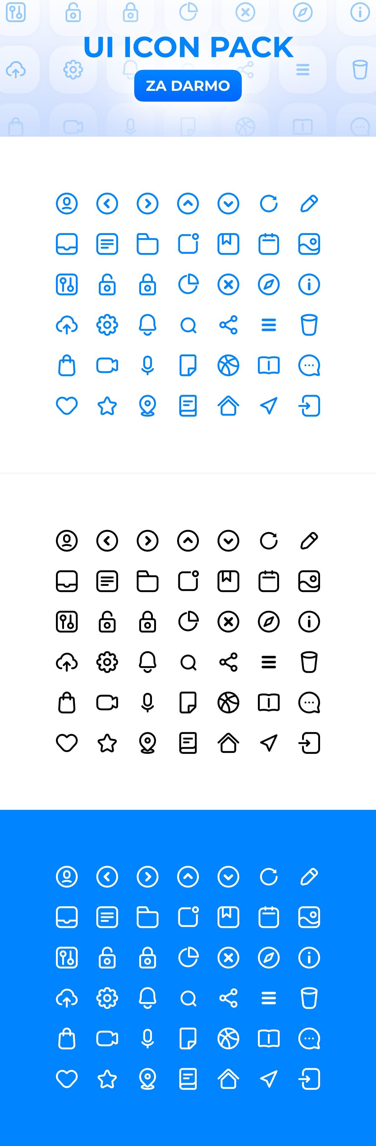 Zestaw ikon UI Icon Pack dla projektantów, designerów. Zestaw do pobrania za darmo - materiały graficzne