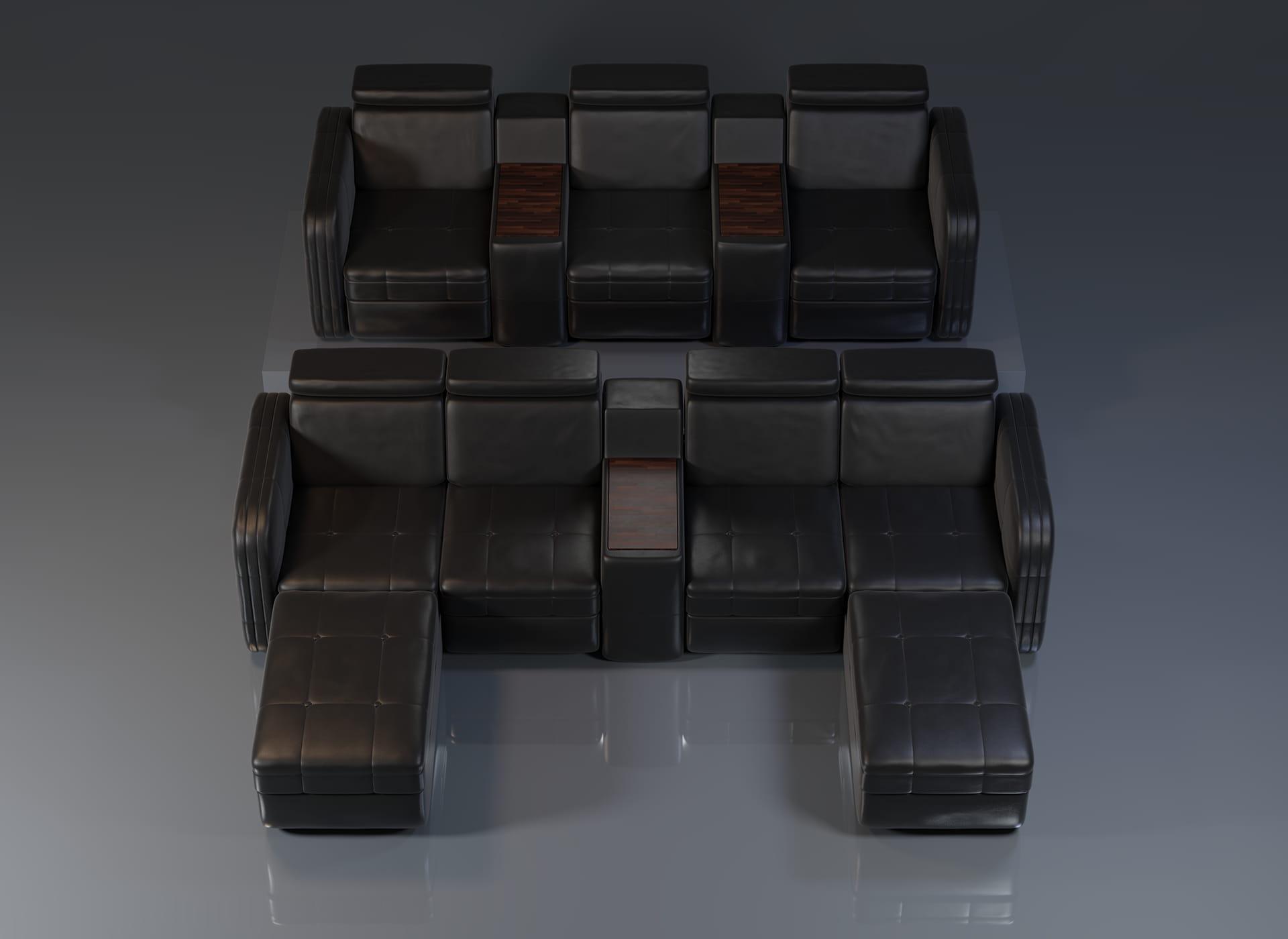 Projekt modelu 3d foteli kinowych / sofa kinowa do kina, czarna skóra oraz wykończenie drewnem - widok z przodu