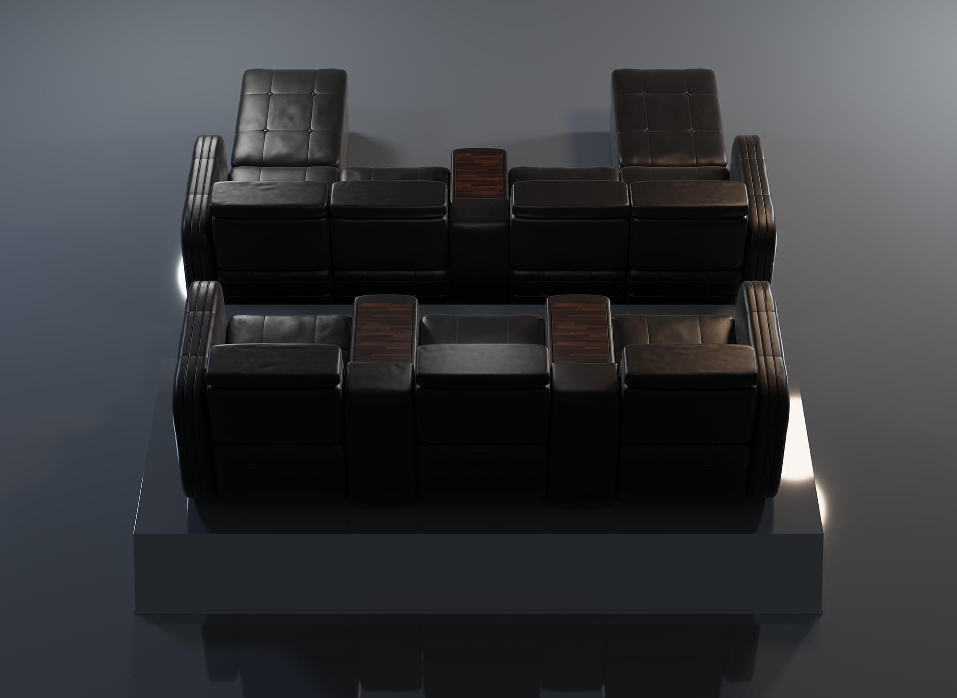 Projekt modelu 3d foteli kinowych / sofa kinowa do kina, czarna skóra oraz wykończenie drewnem - widok z tyłu
