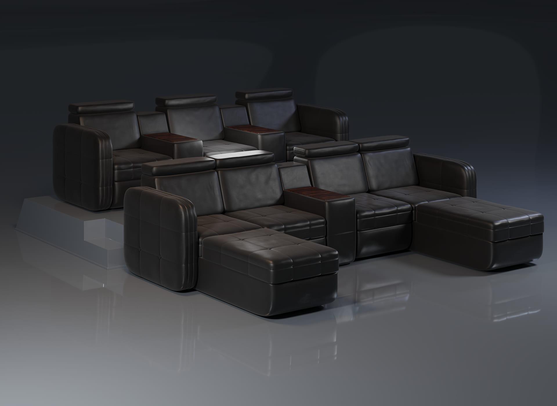 Projekt modelu 3d foteli kinowych / sofa kinowa do kina, czarna skóra oraz wykończenie drewnem - widok pod kątem