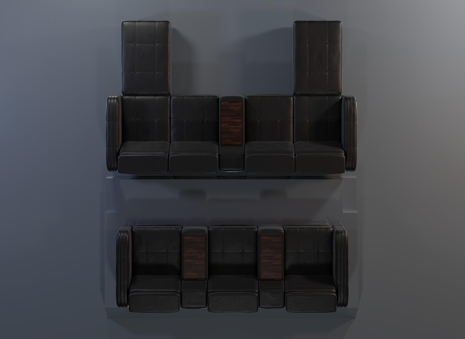 Projekt modelu 3d foteli kinowych / sofa kinowa do kina, czarna skóra oraz wykończenie drewnem - widok z góry