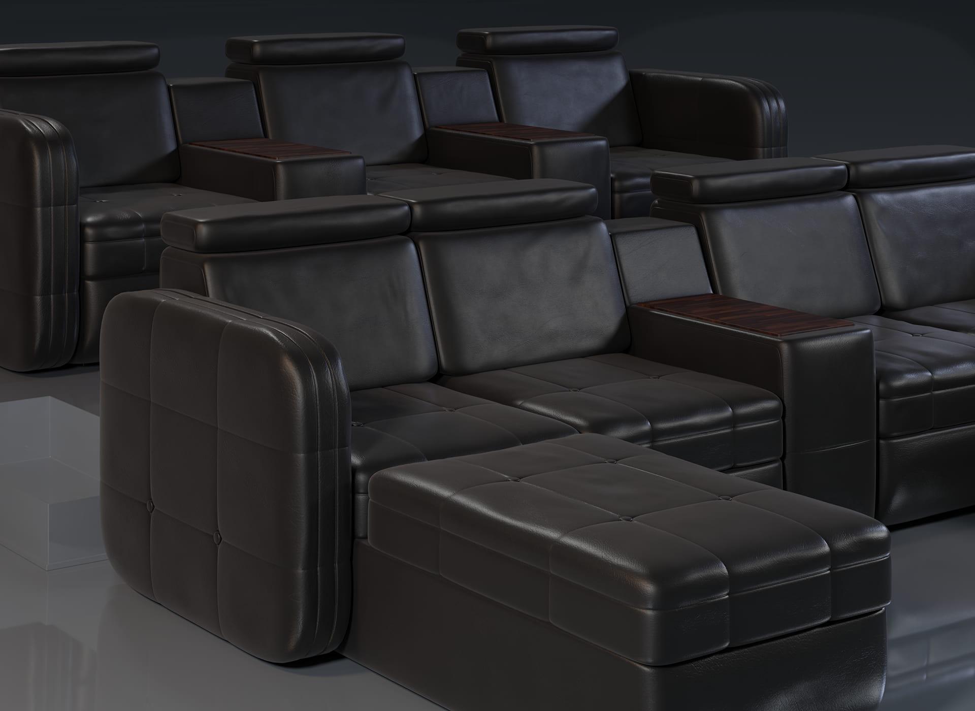 Projekt modelu 3d foteli kinowych / sofa kinowa do kina, czarna skóra oraz wykończenie drewnem - przybliżenie