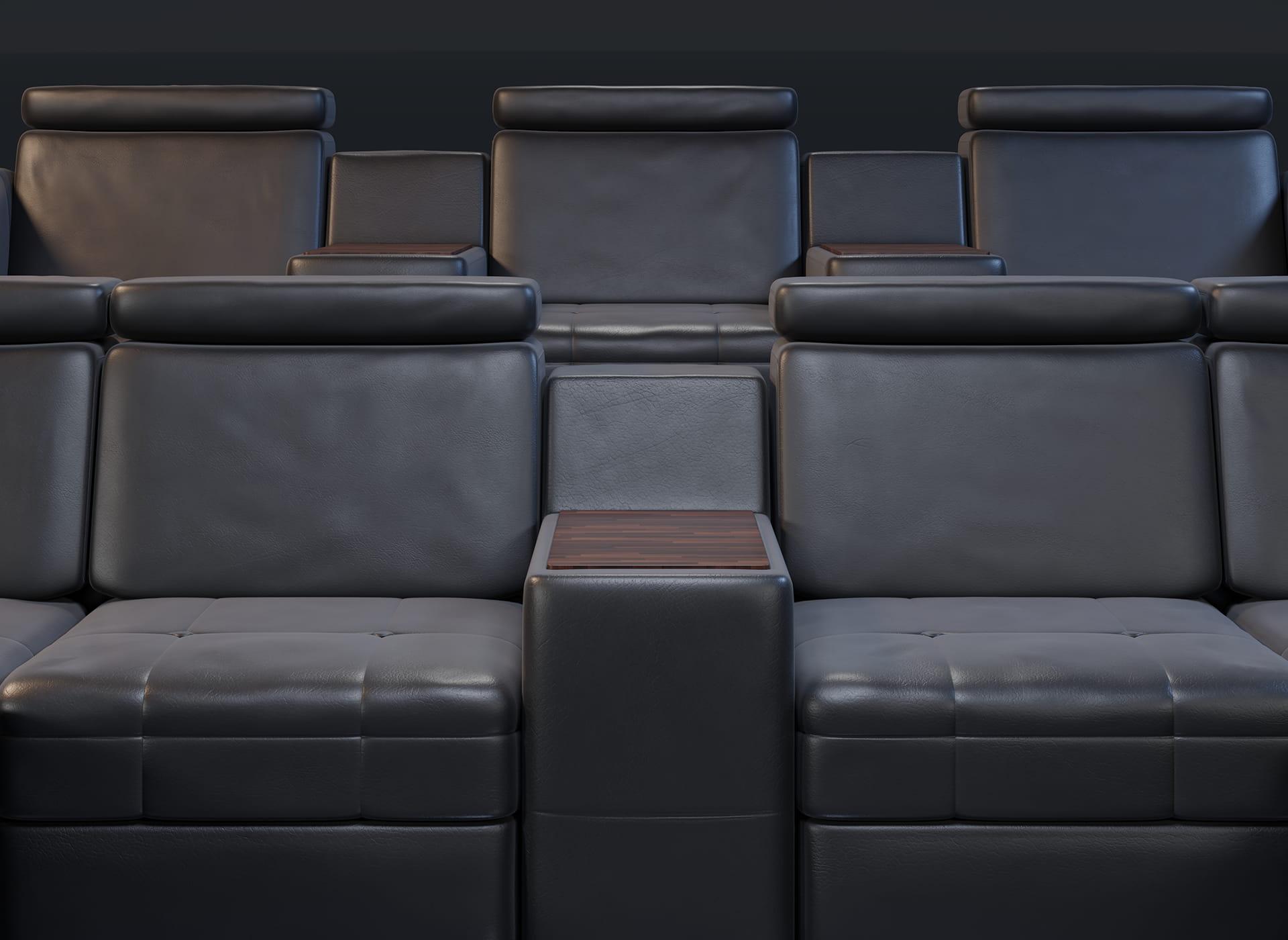 Projekt modelu 3d foteli kinowych / sofa kinowa do kina, czarna skóra oraz wykończenie drewnem - przód