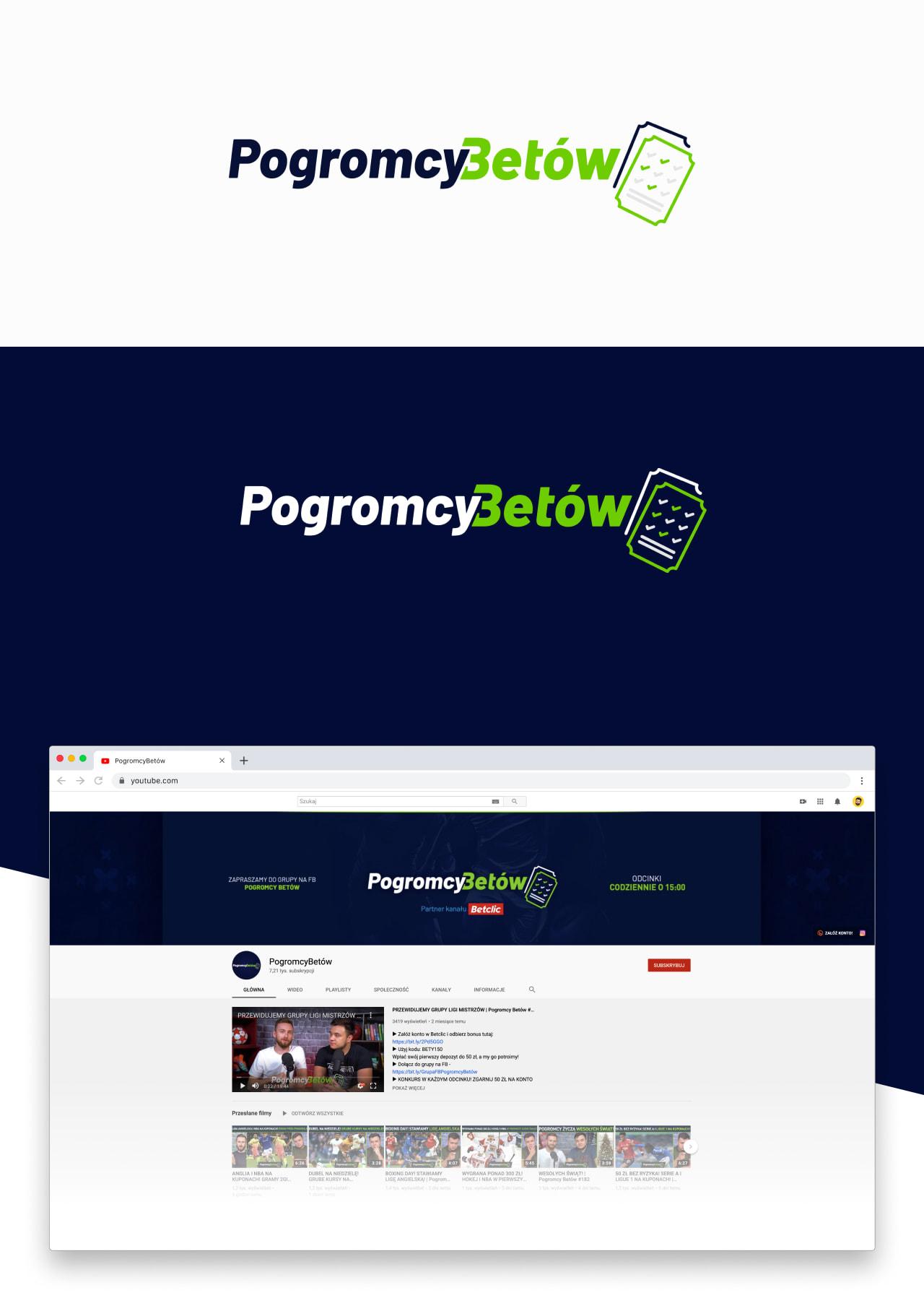 Projekt logo Pogromcy Betów oraz projekt graficzny tła na YouTube