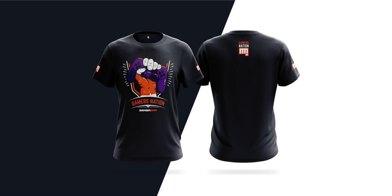 Projekt nadruku na koszulkę Gamers Nation GrabaGra Paweł Grabowski - wizualizacja koszulki