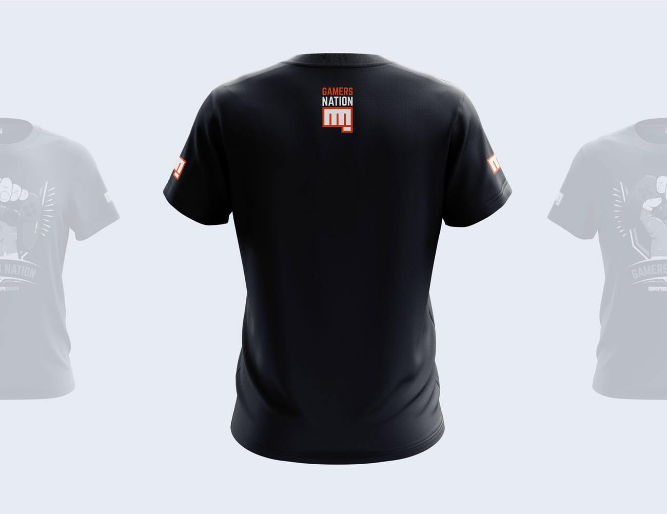 Projekt nadruku na koszulkę Gamers Nation GrabaGra Paweł Grabowski - tył koszulki