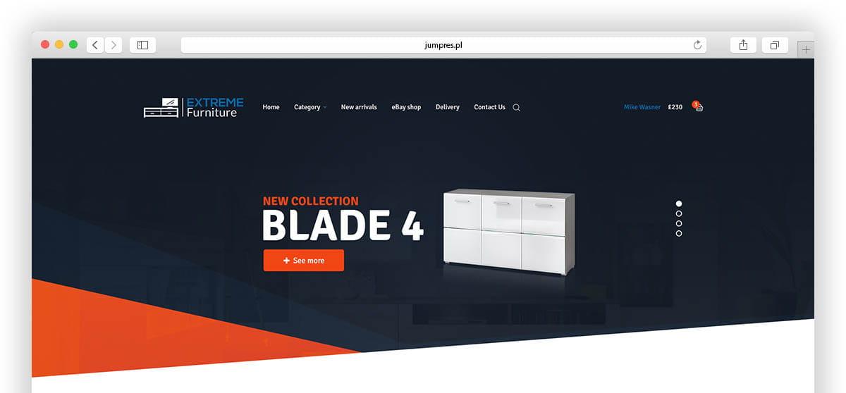 Hero Header sklepu internetowego Extreme Furniture