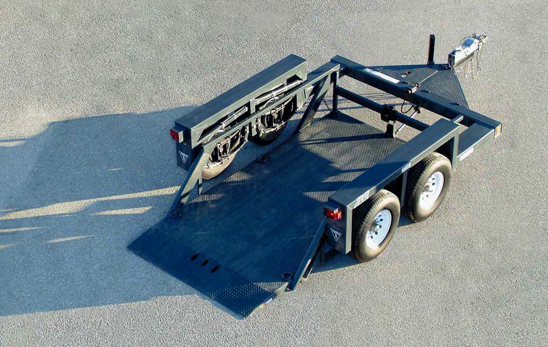 Flatbed truck in parking lot