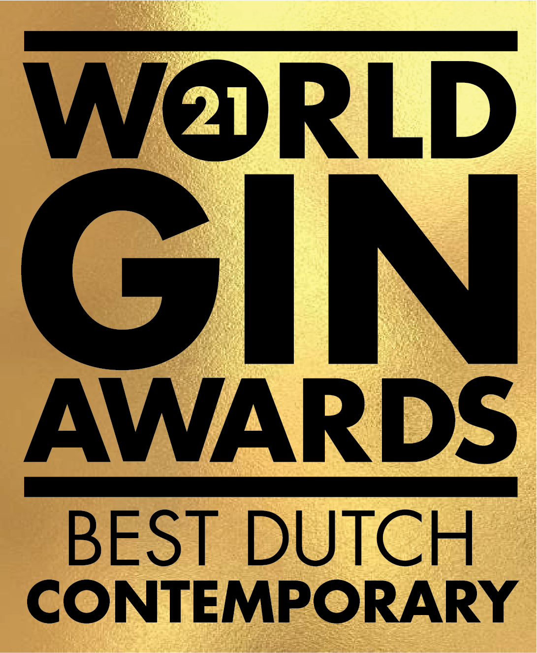 An Gold award won by the Stillery amsterdam which reads World Gin Awards 2021 Best Dutch Contemporary