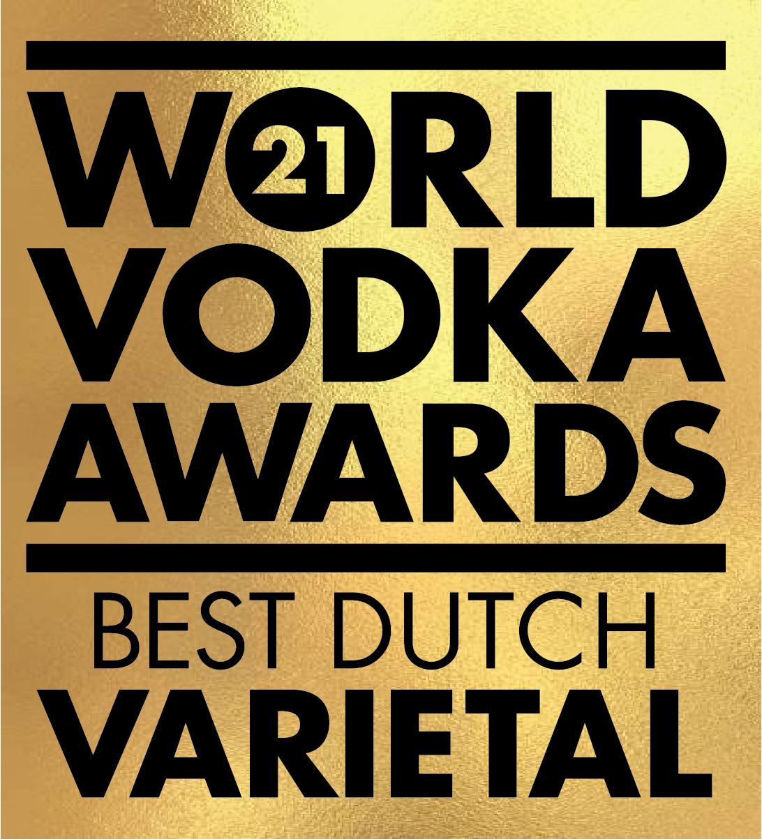 An Gold award won by the Stillery amsterdam which reads World Vodka Awards 2021 Best Dutch Varietal
