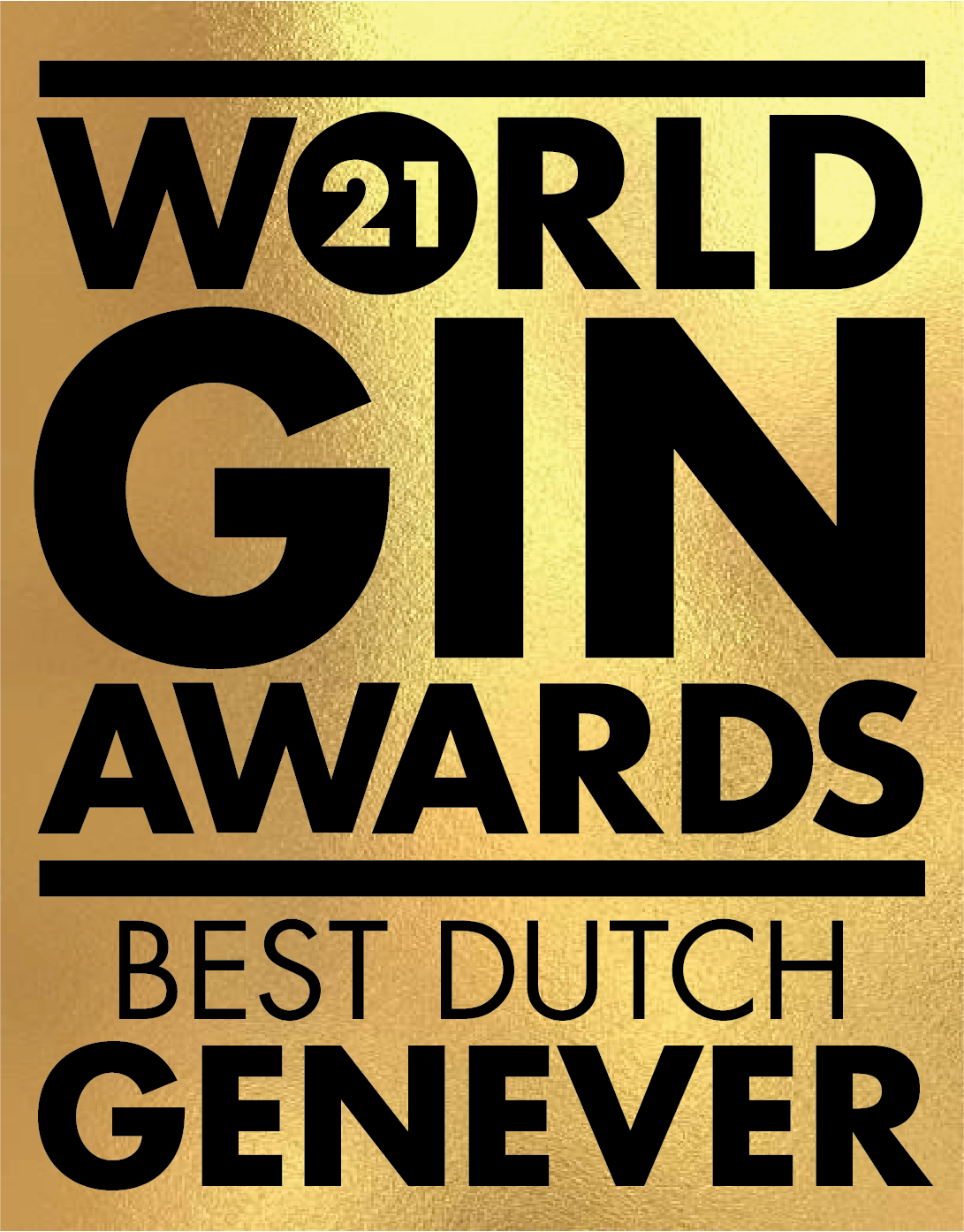 An Gold award won by the Stillery amsterdam which reads World Gin Awards 2021 Best Dutch Genever
