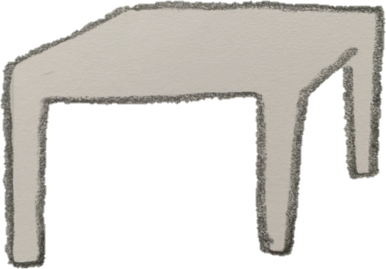 drawing of a square light brown tabble