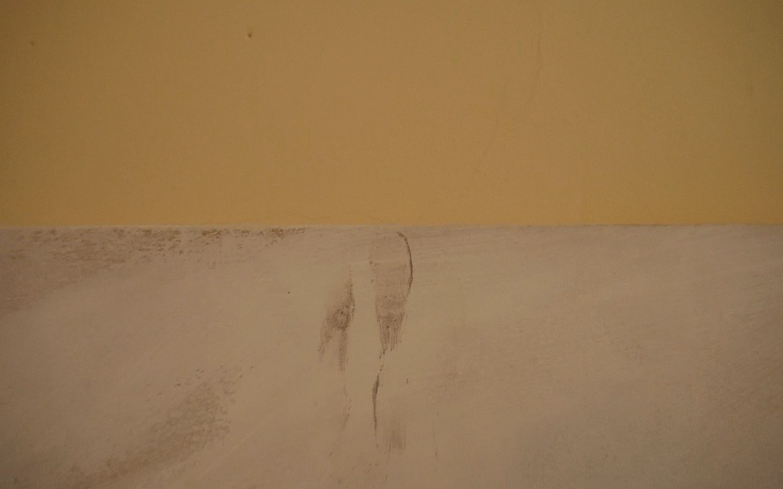 At the top edge of the painting there is a smear of deodorant and smudged pencil, which has made two fingerprints.