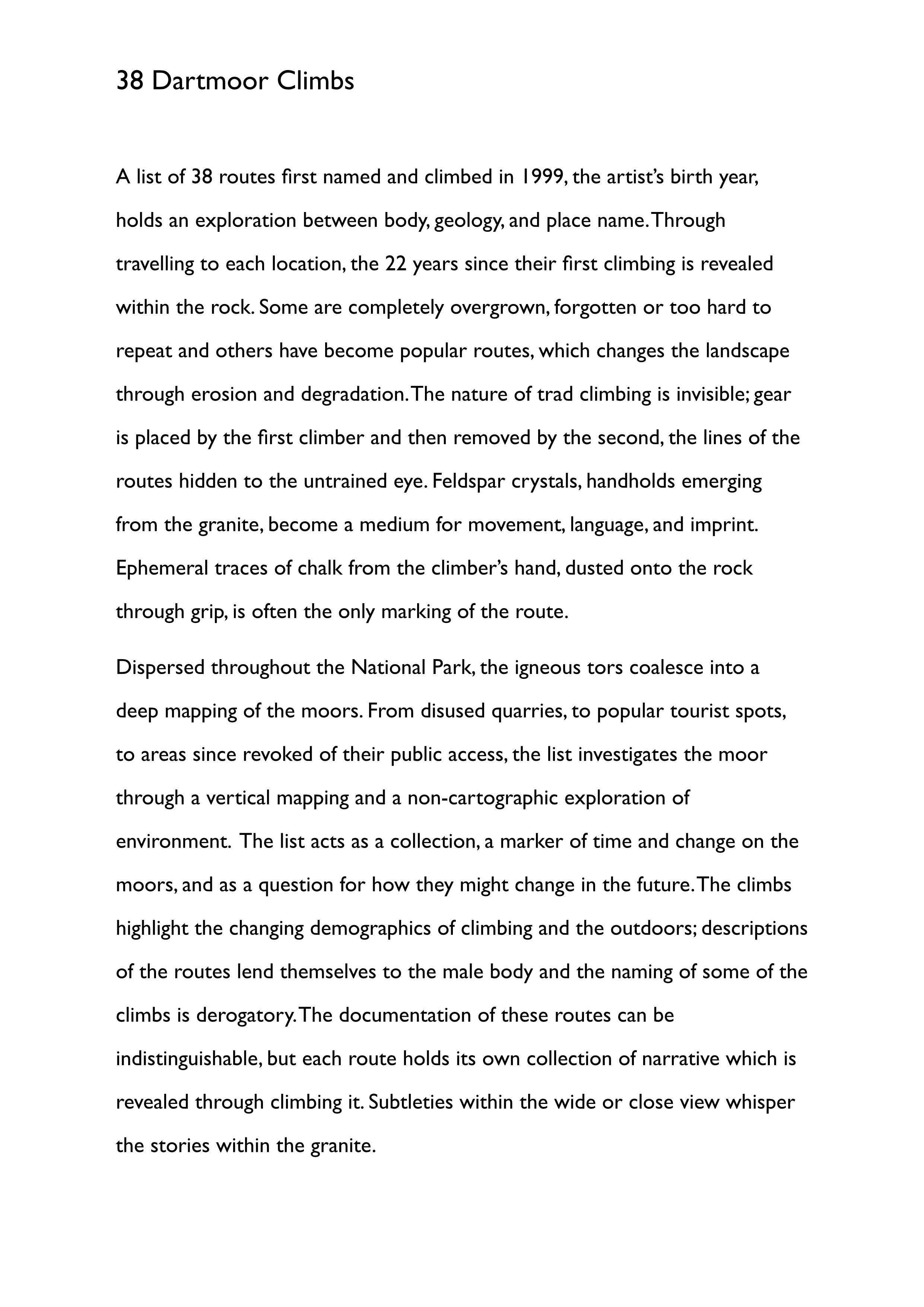 White A4 paper with a text outlining the project in Gill Sans Font.