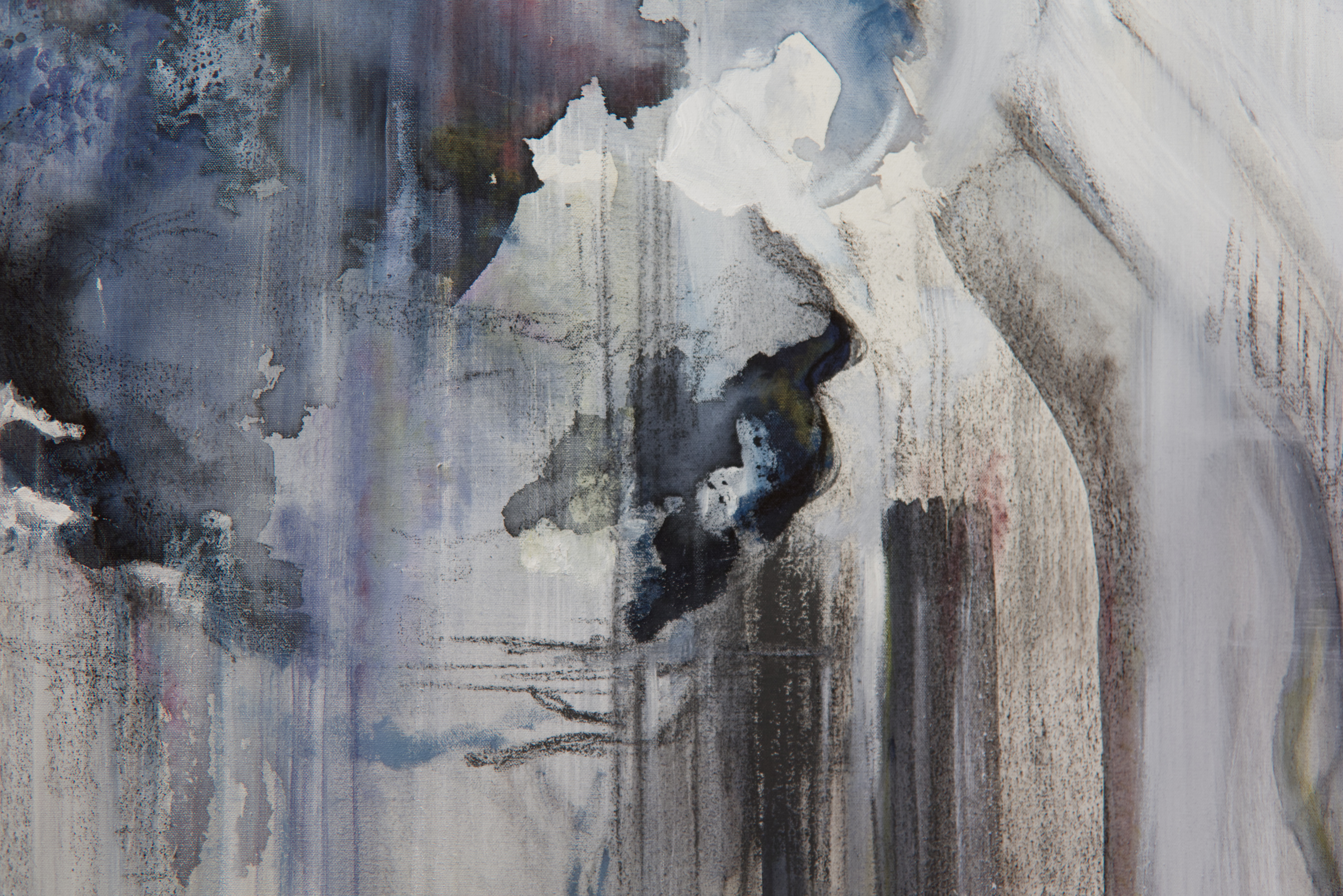 A detail of a larger painting. Pictured is a central section, the vertical brushstrokes are visible in the bottom right corner and a globular form appears in the top left corner. There are details of charcoal, ink and paint.