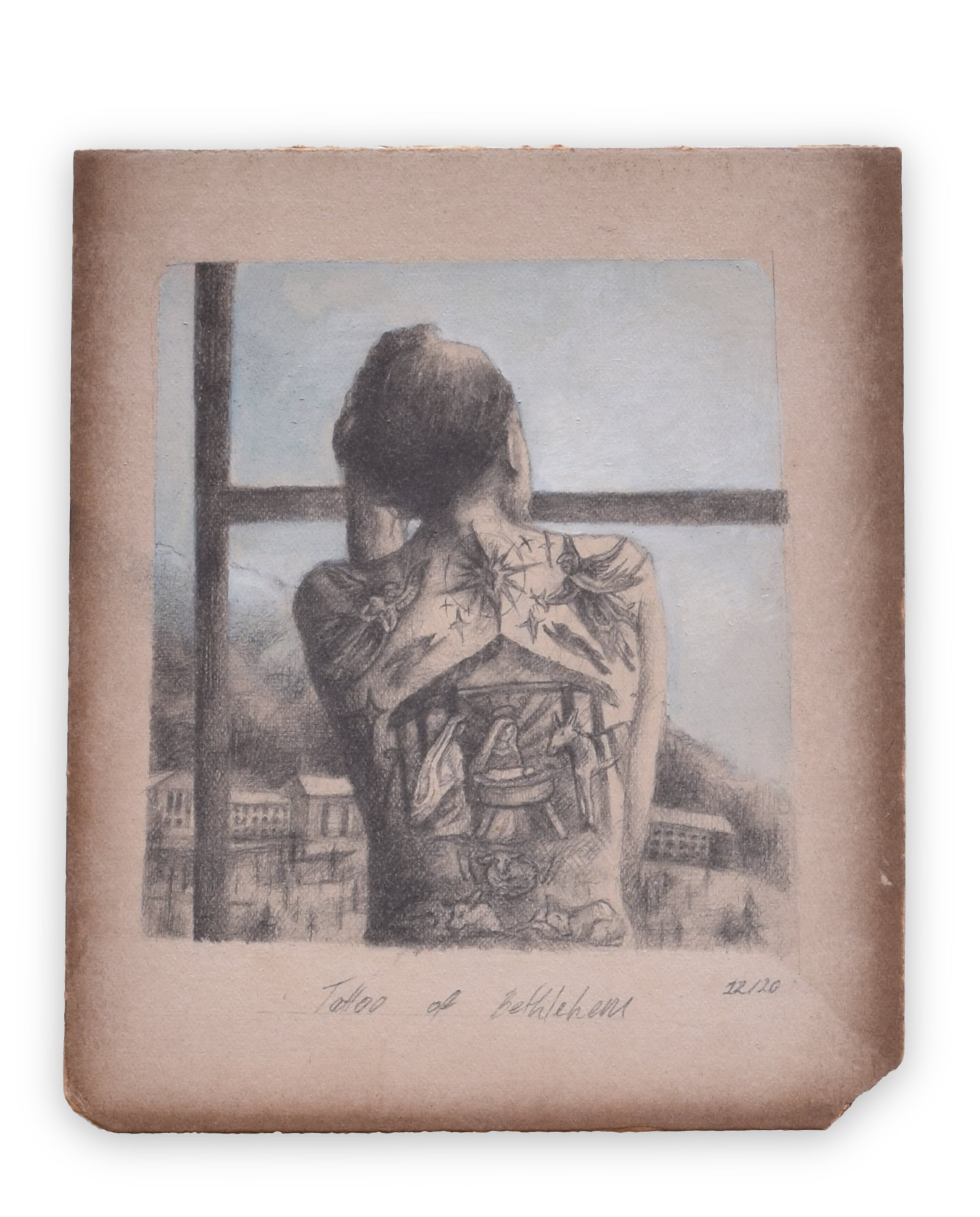 The back of a woman displays tattoos of a barn, the Virgin Mary, angels, animals and a star. She overlooks an old power plant in a small Norwegian town.