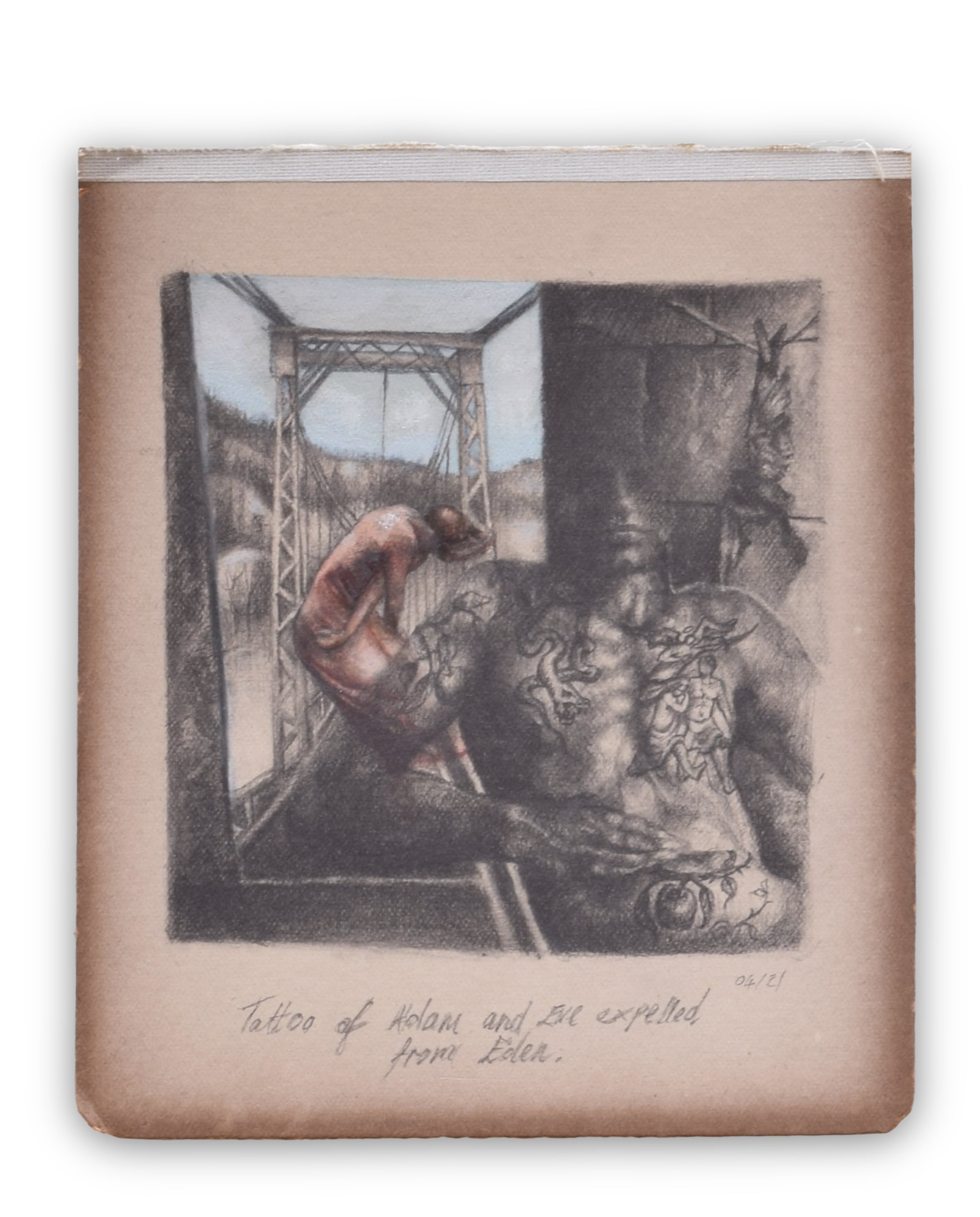 A male torso displays tattoos of a snake, an apple and Adam and Eve being chased by an angel. His head disappears. A woman behind him, wears a pink dress and stands at the edge of a bridge, her hair being blown by the wind.