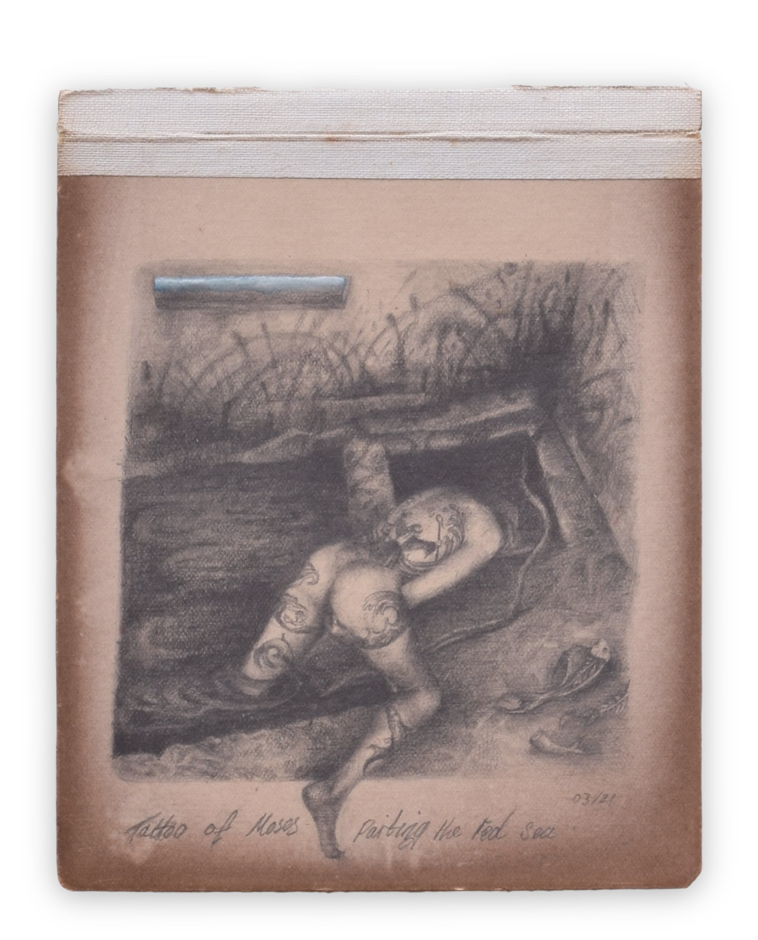 A woman lays down in a dirty abandoned bunker, there are two holes in the floor, she has a leg in one and hangs her head in the other. Her back displays a tattoo of Moses holding up an stick, with which he parts water.