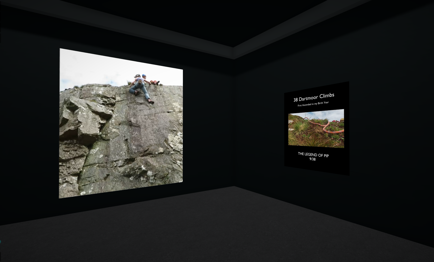 A rendering of a dark corner of a room – the video of the climber is split between the corner.