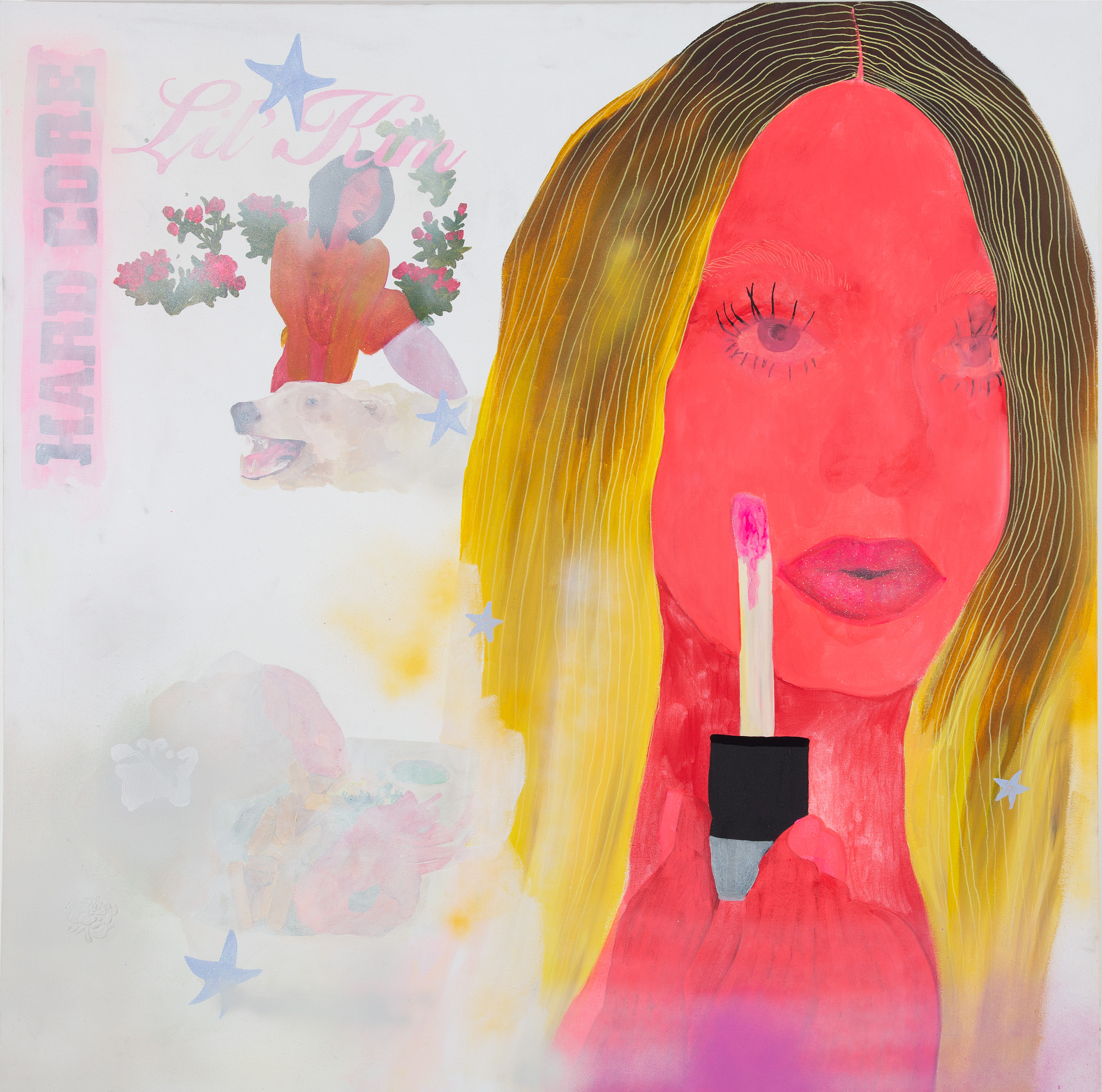 Square painting of blonde woman applying lip gloss, Lil Kim's Hard Core album cover (1996).