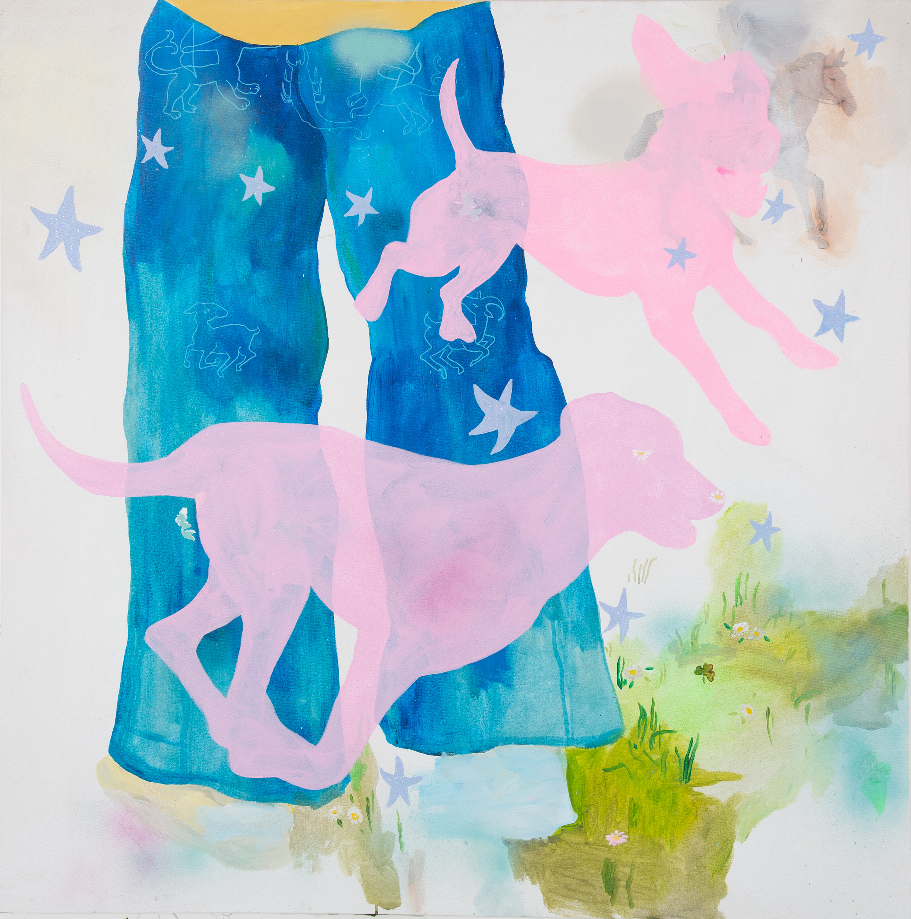 Square painting of the bottom half of a figure in jeans, pink running dogs.