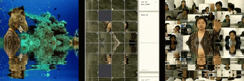 a three grid horizontal screen of mirrored moving water reflection of dinosaur in front of coral leaf, sliding game, a lady trying to hold out hands