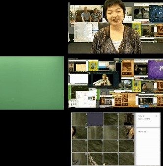 9 screen grids of a person with a dinosaur head in front of coral leaf, dinosaur walking across the screen in green screen background, a grid slide game