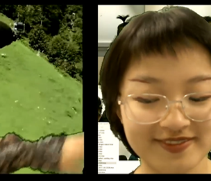 a three grid horizontal screen of dinosaur in front of coral leaf, sliding game, a lady interacts with sea world, flying green screen background