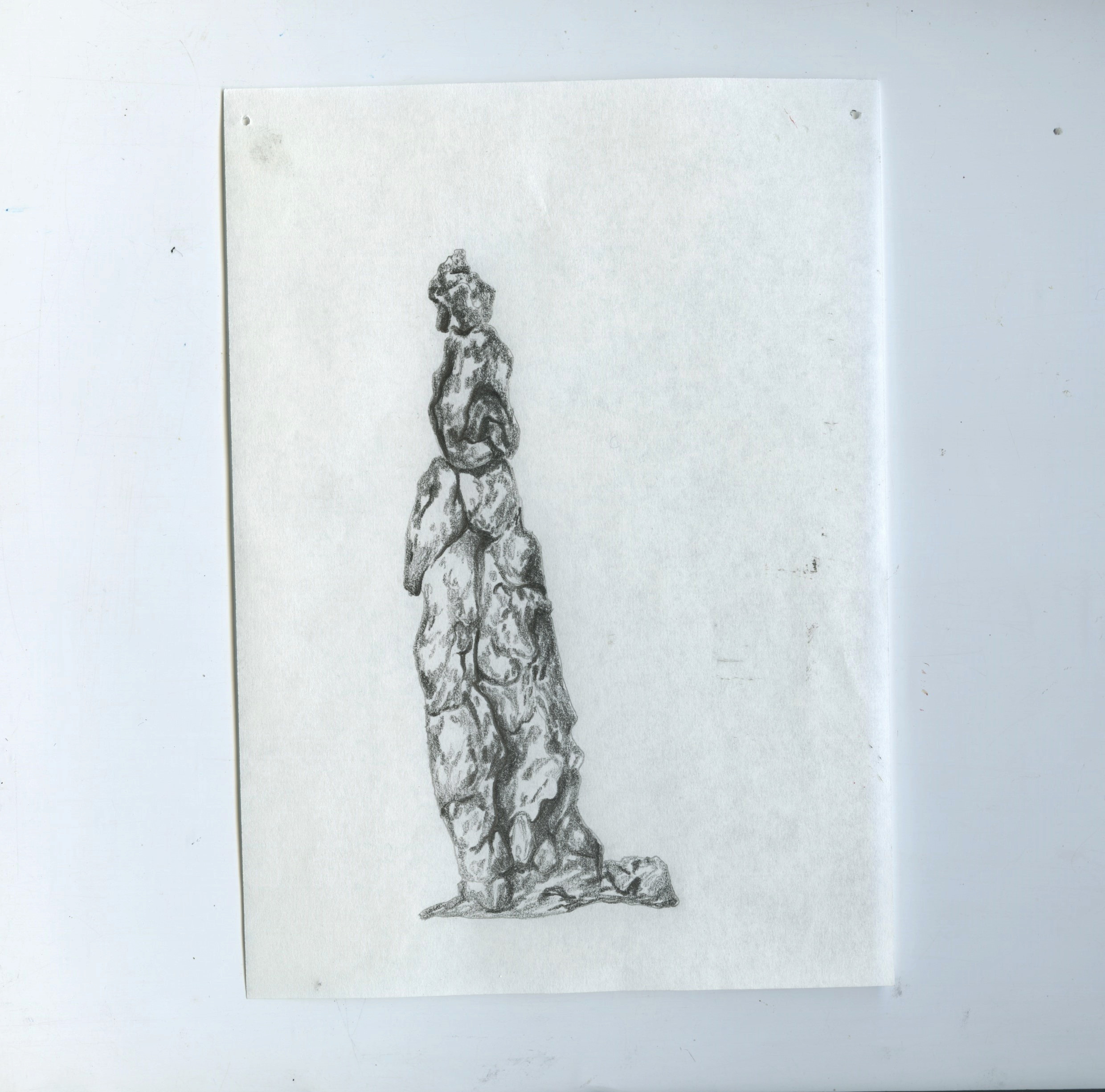 Scanned sheet of Bible paper with a pencil drawing of a salt pillar on it.