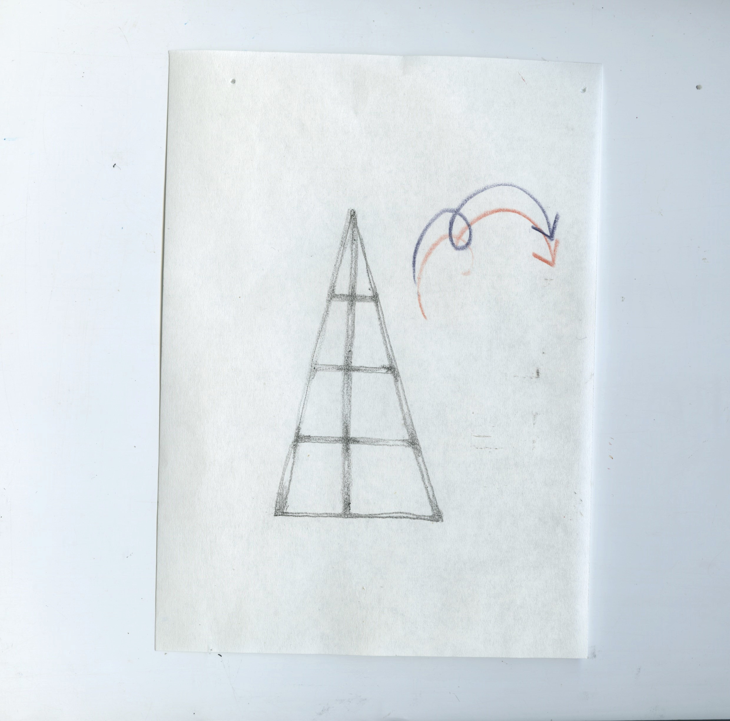 Scanned sheet of Bible paper with a pencil drawing of a triangular widow with 8 segments. Two arrows (red and indigo) point away from the triangle and downwards, looped in the middle.