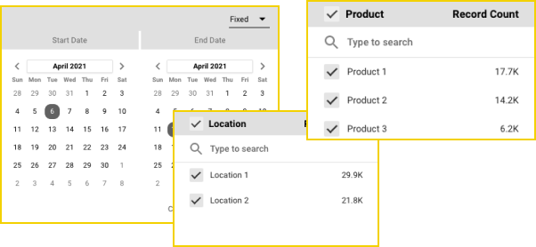 A subset of data options to narrow down our dashboard by date, location, and product