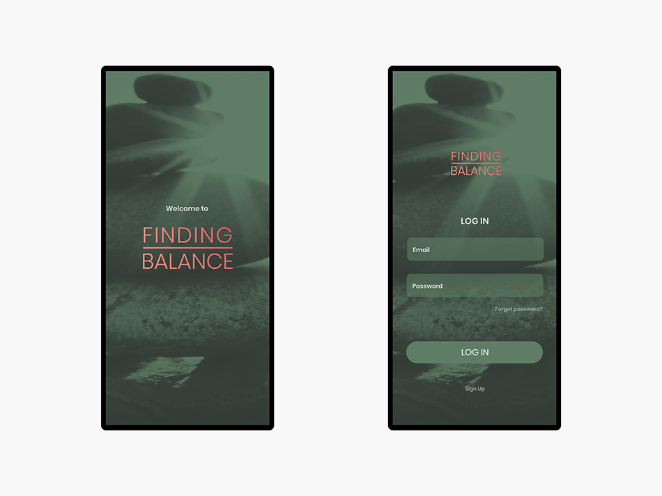 Home and Login screens for the app