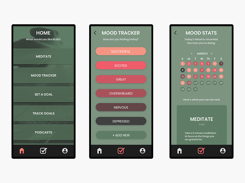 User journey to track their daily mood