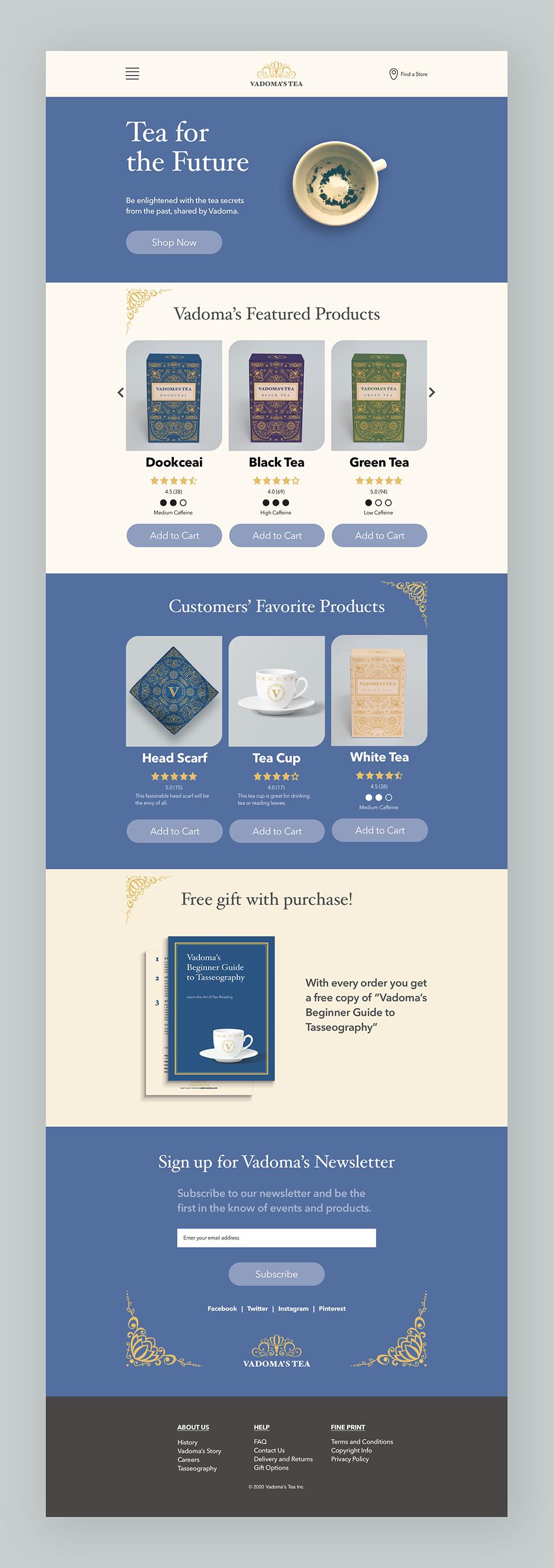 Vadoma's Tea Desktop version of the website