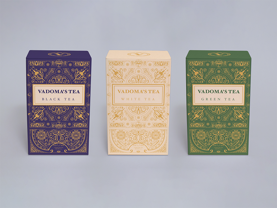 showcasing the packaging for black, white, and green tea.